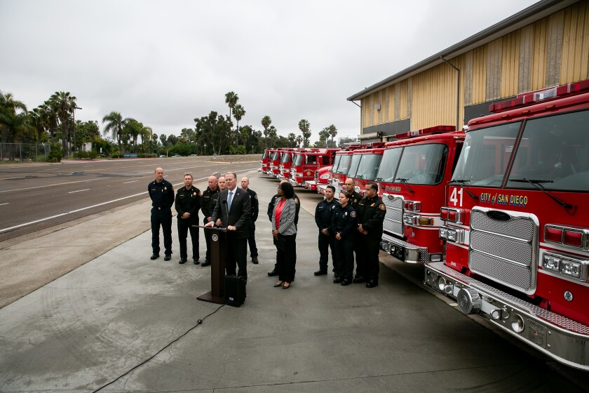 San Diego Mayor Kevin Faulconer, Fire Chief Colin Stowell, Councilwoman Monica Montgomery and other fire officials showed off ten new fire apparatus, including 8 new engines and 2 brush rigs, at a press conference Monday.