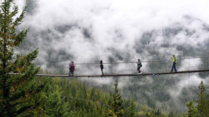 VANCOUVER, CANADA - At the Sea to Sky Gondola attraction visitors cross the Sky Pilot Suspension Bri