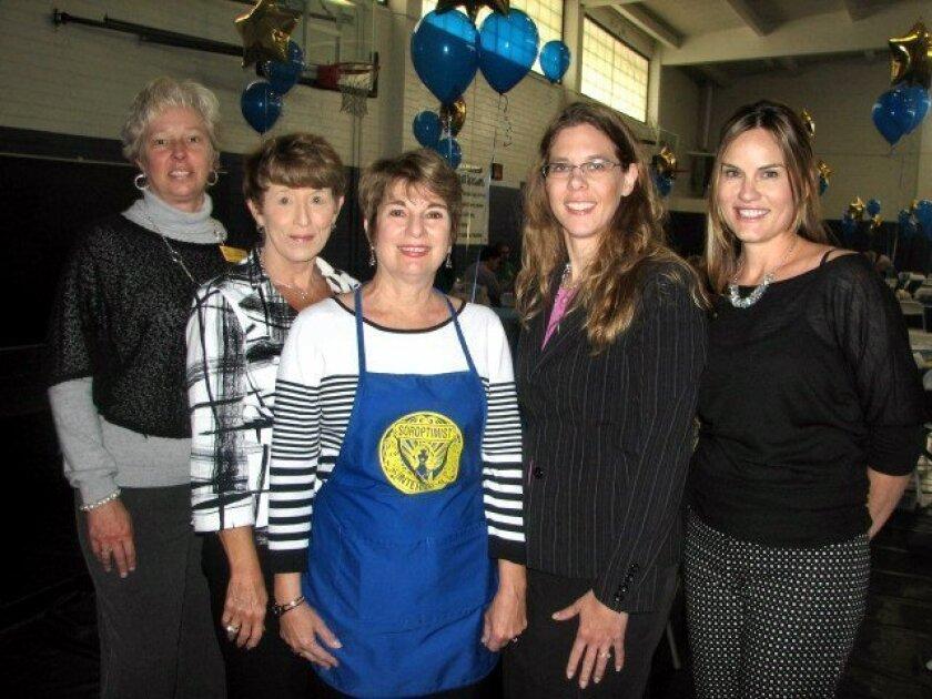 Betsy Heightman, Sharon Bell, Barbara Mannino, Michelle Monroe and Leslie Nash at the Oceanside-Carlsbad Soroptimist Salad Lunch on March 20 in Oceanside. CREDIT: Penny Bonnot