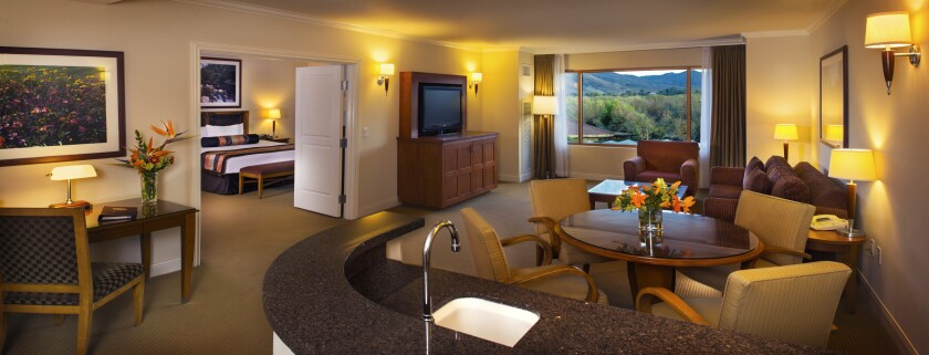 The Grand Suite at Pala Casino Spa & Resort has 1,039 square feet and French doors leading to the large bedroom. Pala is currently remodeling all of its hotel rooms and 82 suites.