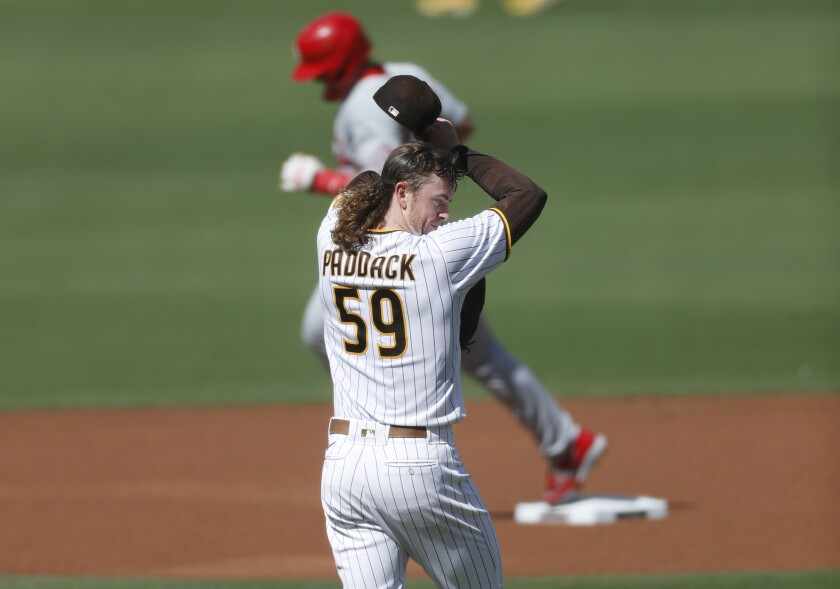 Chris Paddack of the San Diego Padres returns to the mound after a Paul Goldschmidt homer