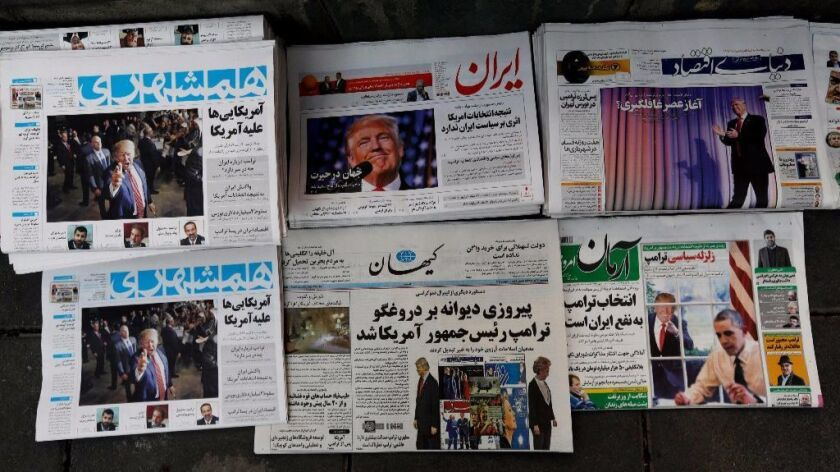 Newspapers in Tehran announce the election of Donald Trump as U.S. president. He has harshly criticized the U.S.-brokered international deal to limit Iran's nuclear weapons program.