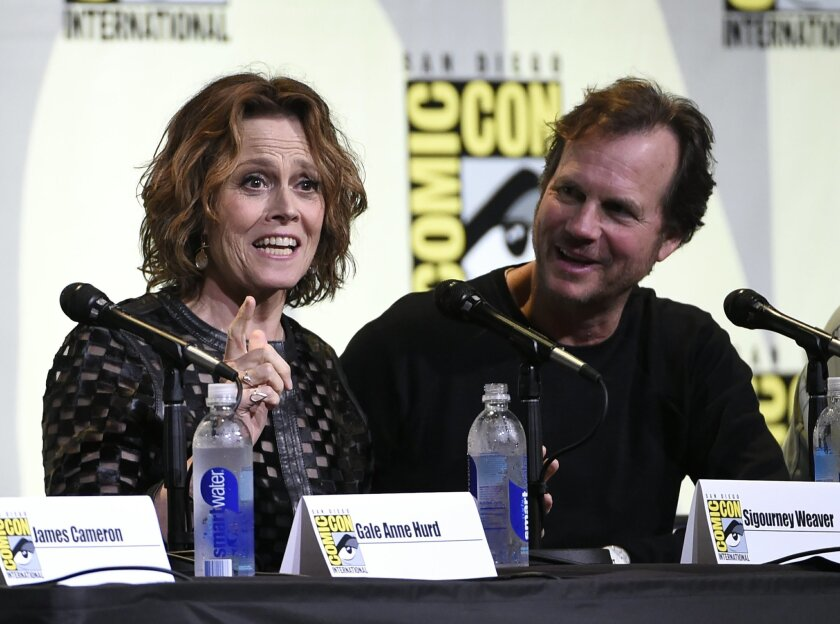 "Sigourney Weaver, left, and Bill Paxton attend the ""Aliens: 30th Anniversary"" panel on day 3 of Comic-Con International on Saturday, July 23, 2016, in San Diego. (Photo by Chris Pizzello/Invision/AP)"