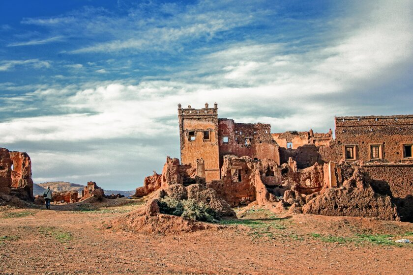 The crumbling Kasbah Telouet once housed a notable family and is among many castle-like casbahs found in Morocco.