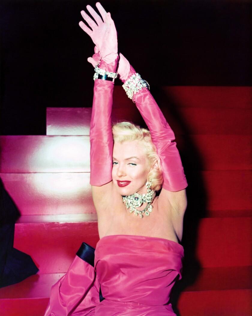 "Marilyn Monroe on the set of the 1953 film ""Gentlemen Prefer Blondes,"" based on the Anita Loos novel."