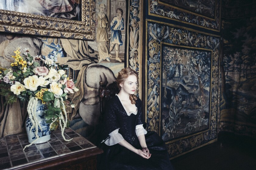 "Emma Stone in the film ""The Favourite"" from Twentieth Century Fox Film."