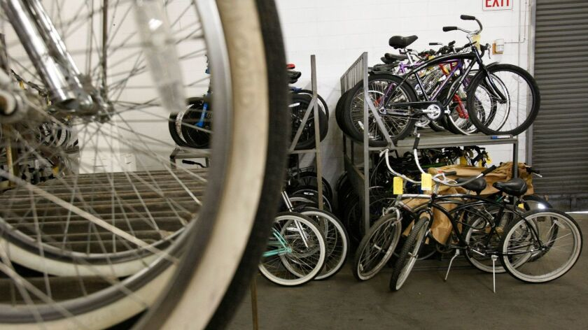 Cusack, Anne –– – LOS ANGELES, CA. – FEBRUARY 10, 2010: Hundreds of bicycles that were stolen sit on