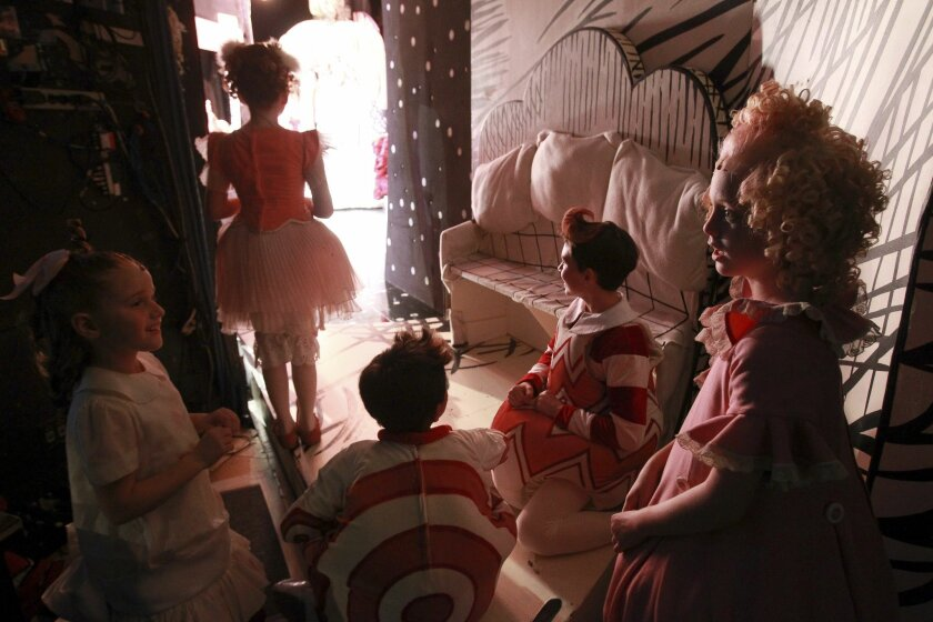 """Young actors backstage in the 2013 production of """"Dr. Seuss' How the Grinch Stole Christmas!"""""""