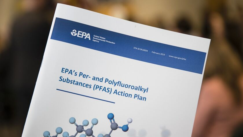 Displayed is an Environmental Protection Agency report ahead of a news conference in Philadelphia, T