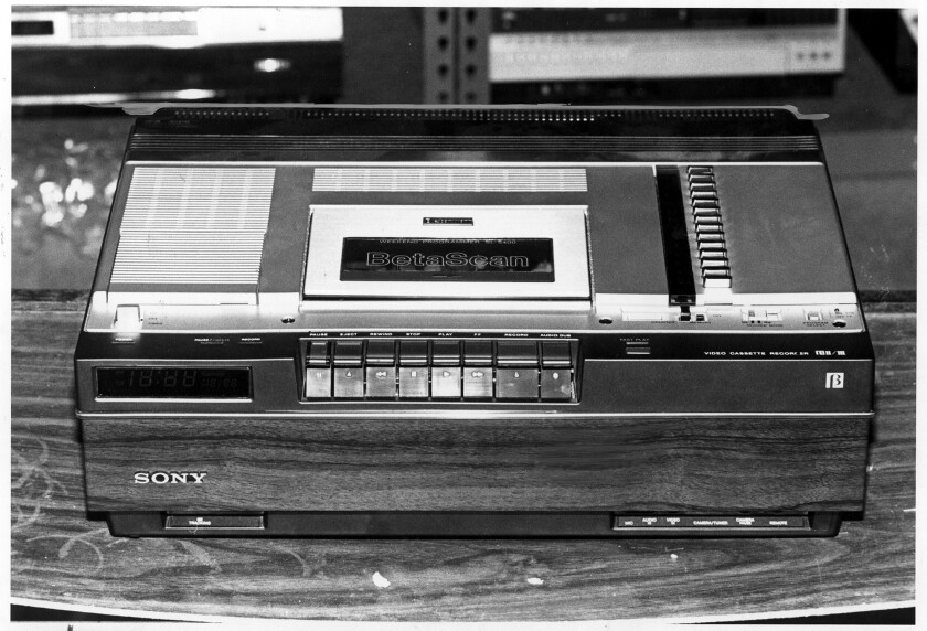 This 1981 file photo shows a Betamax videotape recorder and tape.