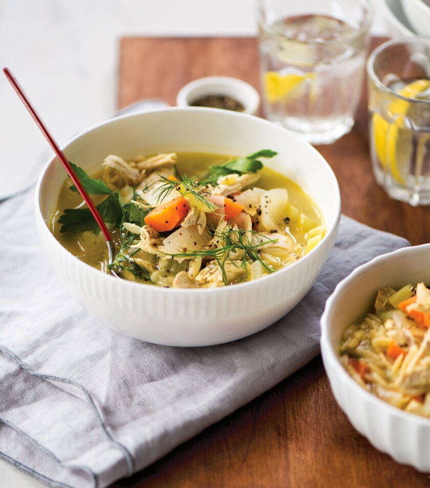 """Greek Chicken Soup from """"The Domestic Geek's Meals Made Easy."""""""