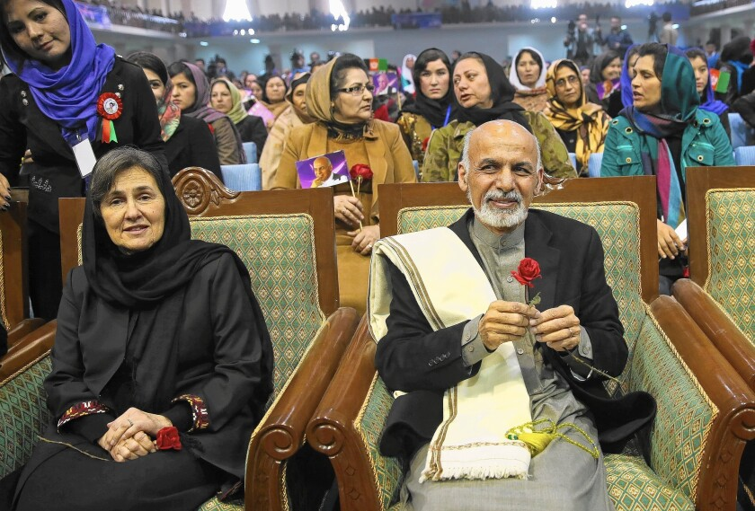 Rula Ghani attends a campaign rally for women in March on International Women's Day in Kabul with her husband, Ashraf Ghani, who is now president of Afghanistan.