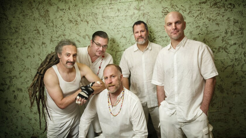 The members of Faith No More, from left, Mike Bordin, Mike Patton, Roddy Bottum, Billy Gould and Jon Hudson.