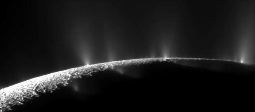 Jets of ice, water vapor and organic compounds spray from the south pole of Saturn's moon Enceladus in this image from Cassini taken in November 2009.