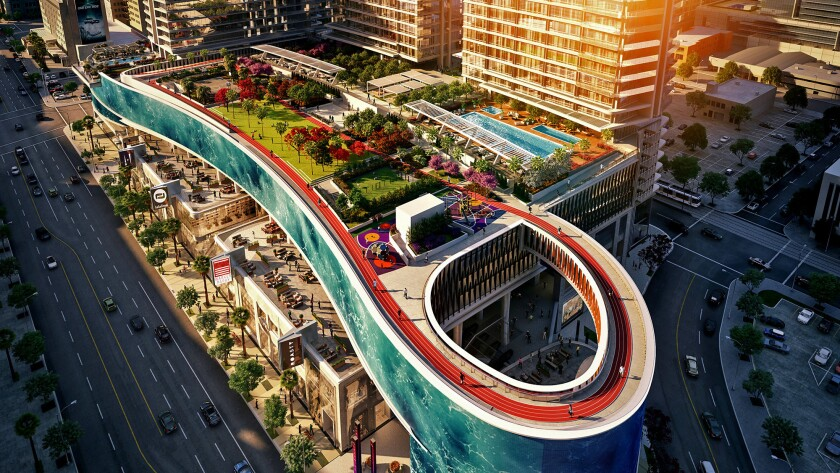 Rendering of the $1 billion Oceanwide Plaza on Figueroa Street in downtown Los Angeles.