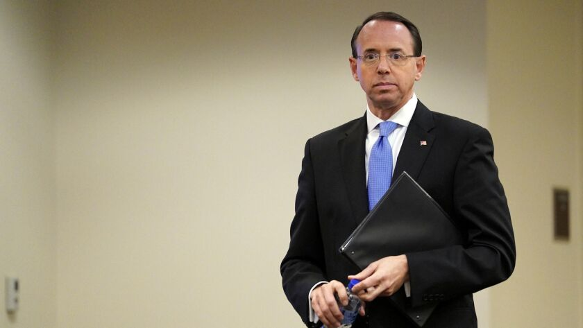 Deputy Atty. Gen. Rod Rosenstein waits to speak at a law enforcement roundtable on Oct. 29. He oversaw the special counsel's Russia investigation.