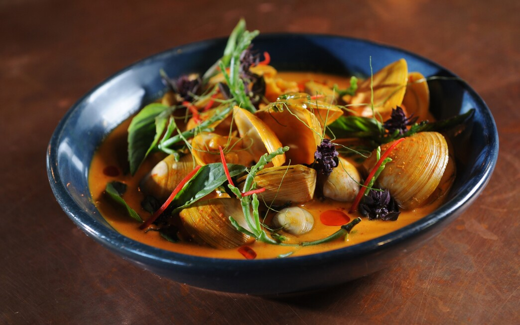 Turmeric and coconut clam curry