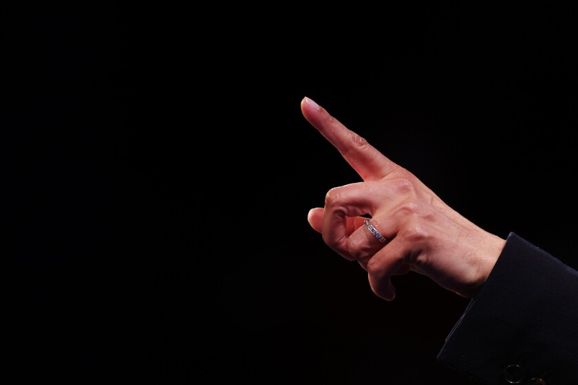 Vice presidential candidate Kamala Harris points a finger during the debate on Oct. 7, 2020.
