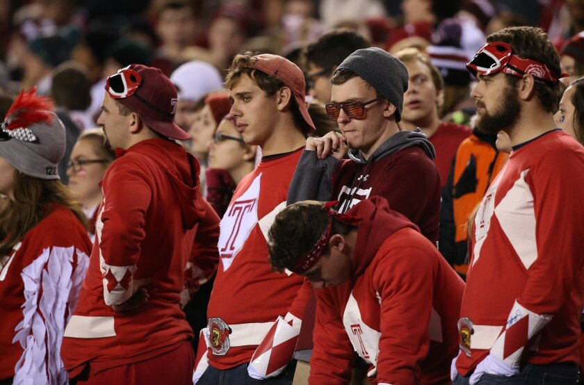 Temple fans react after Notre Dame scored a touchdown late in the fourth quarter of an NCAA college football game Saturday, Oct. 31, 2015, in Philadelphia. Notre Dame won 24-20. (David Maialetti/The Philadelphia Inquirer via AP)