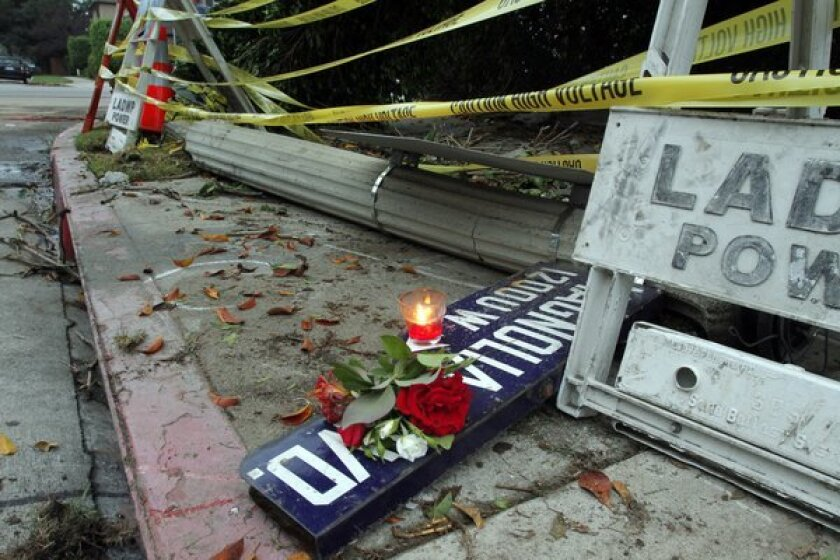A makeshift memorial at the accident scene in Valley Village where two women died after being electrocuted in August 2012.