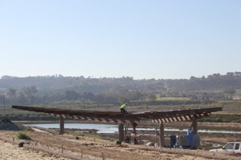 """The """"Birdwing"""" open air classroom in the San Dieguito River Park lagoon is expected to be finished in April, with a grand opening celebration in May. Photo/Karen Billing"""