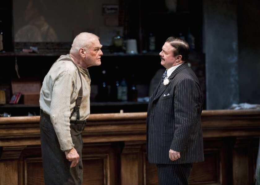 """Brian Dennehy, left, and Nathan Lane in """"The Iceman Cometh"""" at the Goodman Theatre in Chicago."""