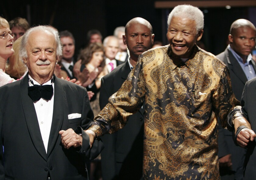 George Bizos, left, and Nelson Mandela in 2008.