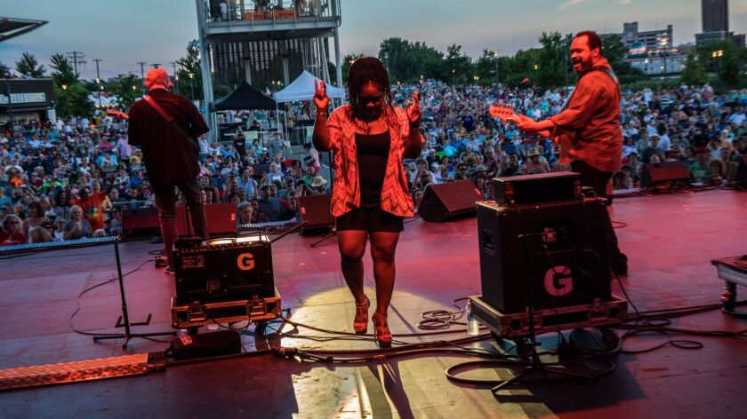 Chicago blues singer Shemekia Copeland walks off stage after her performance at Blues on the Fox fes