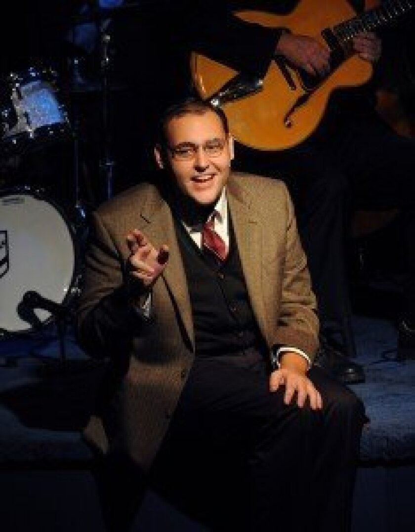 Nicholas Mongiardo-Cooper as lyricist Ira Gershwin. Photo by Aaron Rumley