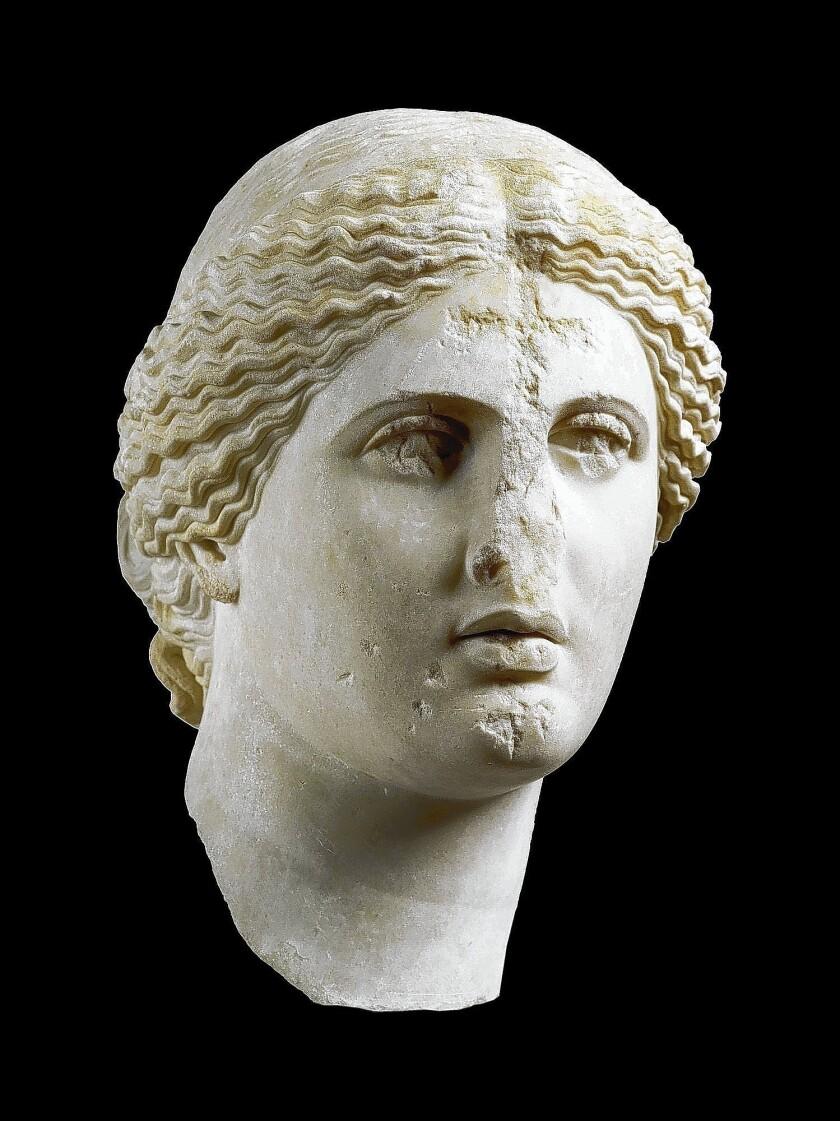 Head of Aphrodite; Greek, 1st century; Parian marble
