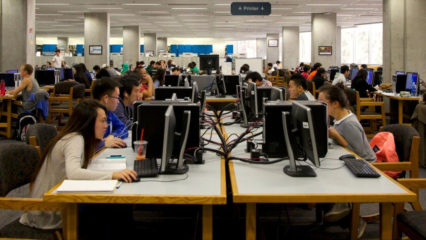 Students gather for study time at UC San Diego's Geisel Library.