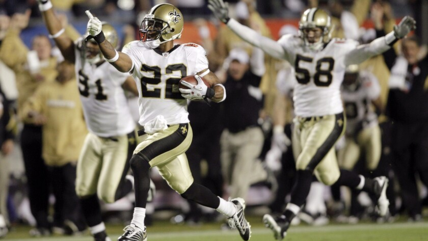 New Orleans Saints cornerback Tracy Porter (22) returns an interception for a touchdown in the 2010 Super Bowl. New Orleans is the smallest local TV market in the league.