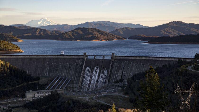 Mt. Shasta, Shasta Lake and the Shasta Dam are seen north of Redding, Calif., on Feb. 17.
