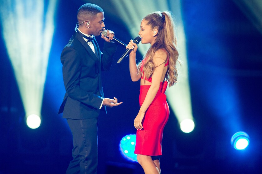 Ariana Grande and Big Sean, who are rumored to be dating, hit the stage in a duet performance.