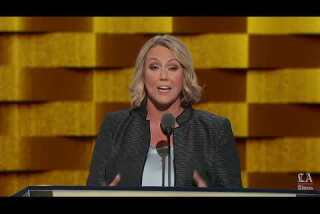 Emily's List president Stephanie Schriock speaks at the Democratic National Convention