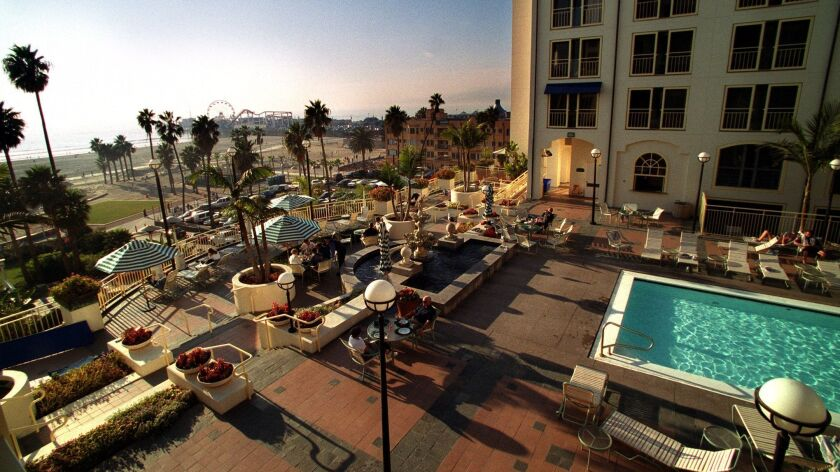 The Loews Santa Monica hotel overlooks the beach. Labor union leaders and city officials worry that the new Chinese owners may convert the hotel into luxury condos.