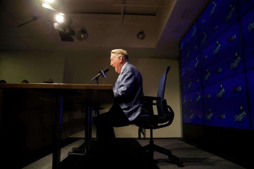 Vin Scully, en conferencia de prensa.