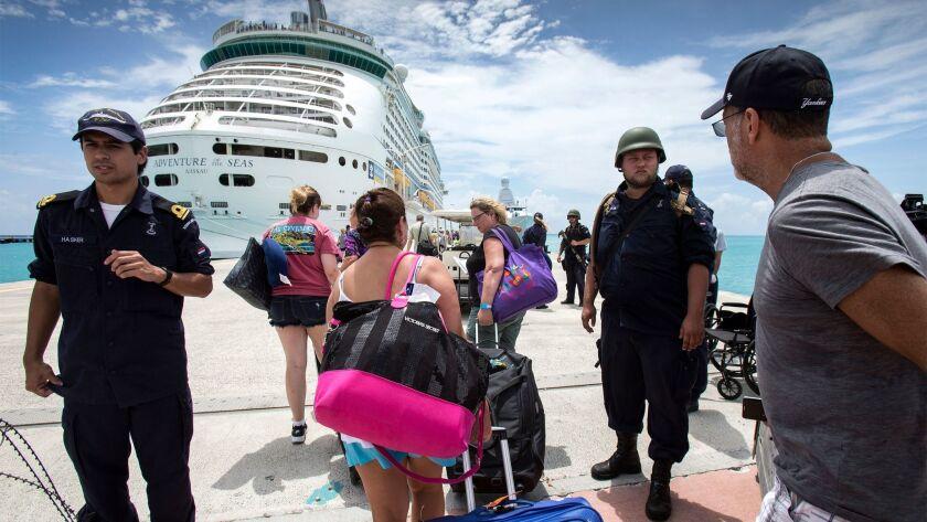 Adventure of the Seas on Sept. 10 delivered supplies and picked up stranded travelers from St. Maart