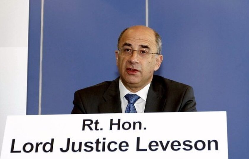 Judge Brian Leveson in July 2011, at the launch of his inquiry into media ethics in Britain.