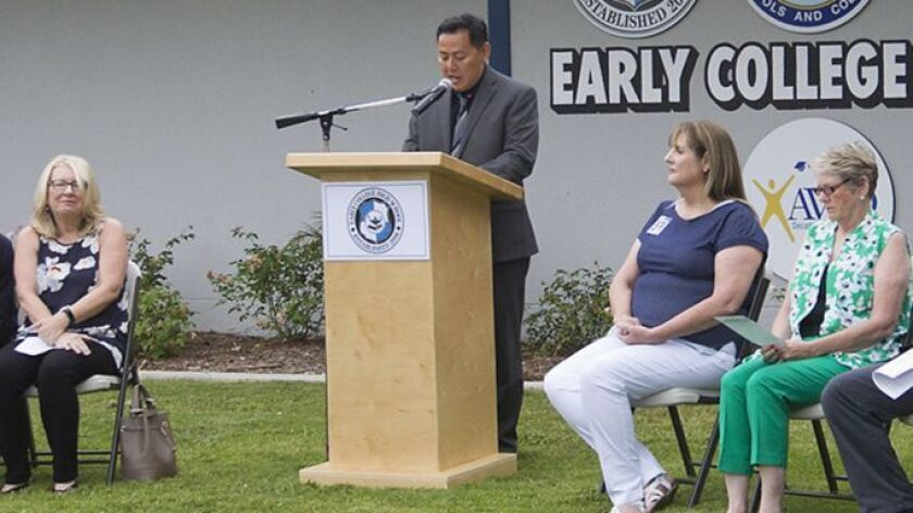 Deputy Supt. Russel Lee-Sung makes comments during at a ceremony in 2018.