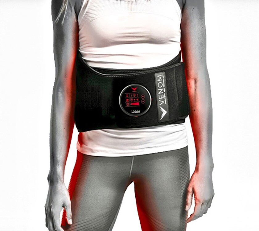 Hyperice Venom Back. Neoprene heat and vibration device with four 1-inch vibration pods and nanotech