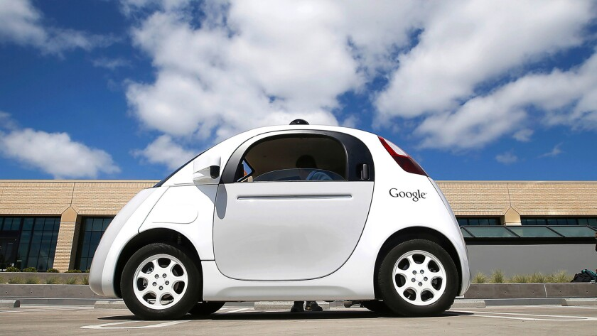 Google's self-driving car during a demonstration at the Google campus in Mountain View, Calif.