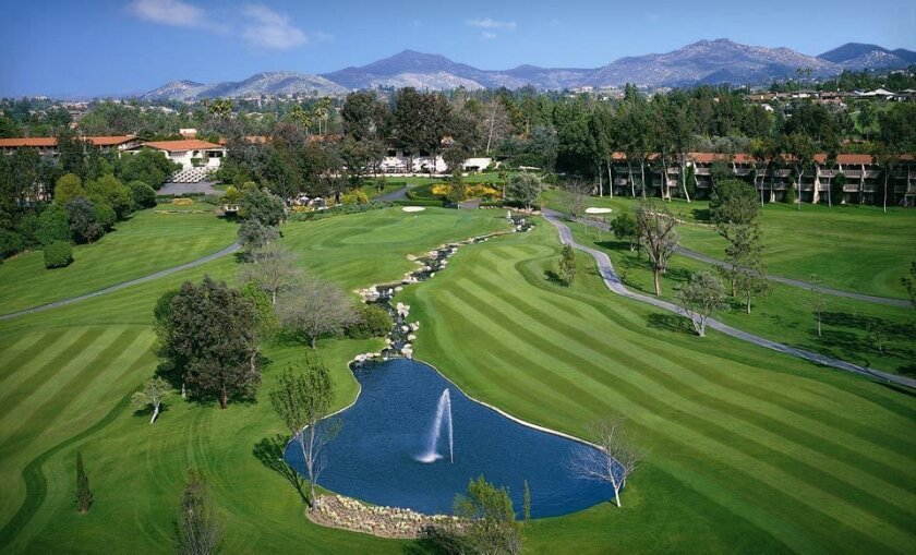 The 18th hole at the Rancho Bernardo Inn isn't long, but makes up for it with strategic second and third shots to a three-tiered green.