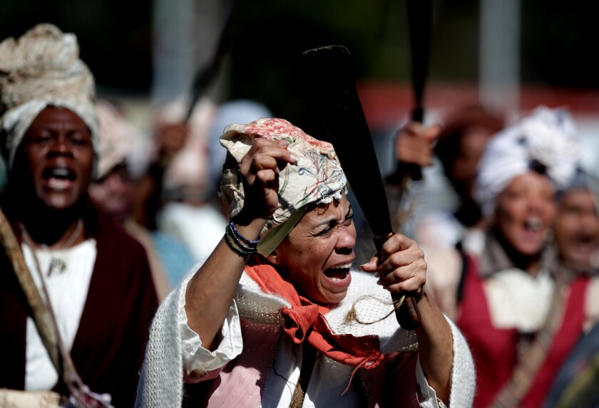 The reenactment of the 1811 slave rebellion covered a 20-mile route.