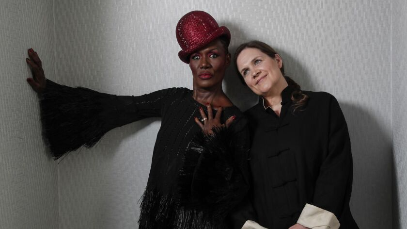 "Musician and actress Grace Jones and filmmaker Sophie Fiennes. The new documentary ""Grace Jones: Bloodlight and Bami"" is an intimate look at Jones both onstage and off."
