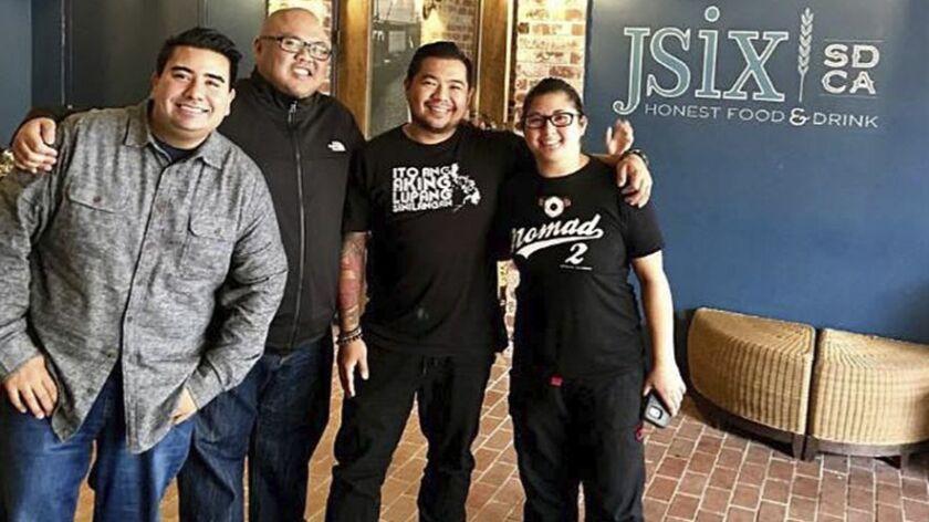 "From left: Anthony Sinsay of Jsix Restaurant, Evan Cruz of Arterra Del Mar, Danilo ""DJ"" Tangalin of Tidal and Kristianna Zabala of Nomad Donuts."