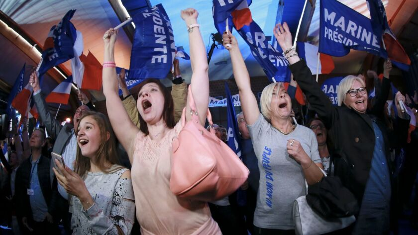 epaselect epa05924255 Supporters of French presidential election candidate for the far-right Front N
