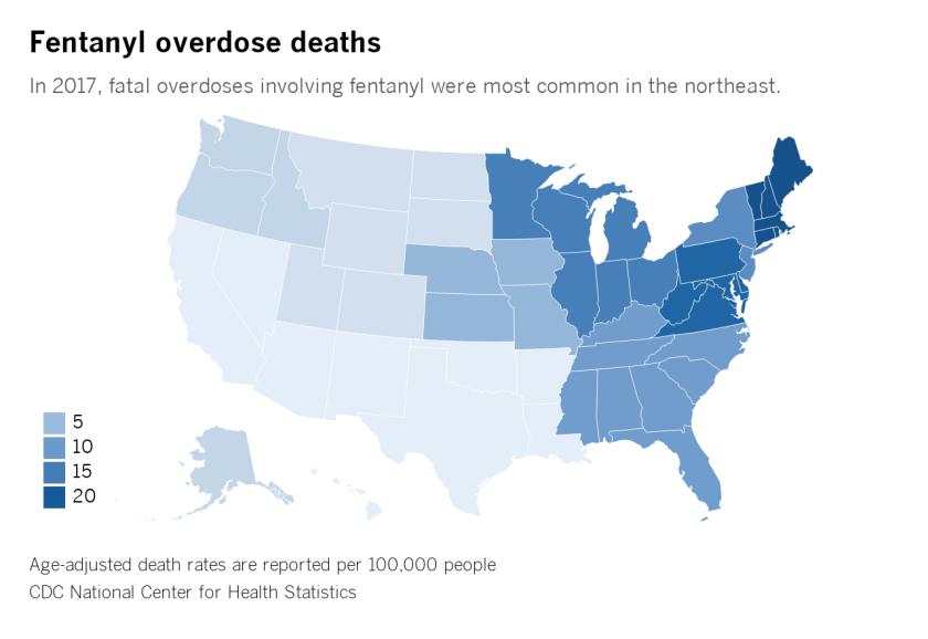 Map of drug overdose death rates involving fentanyl