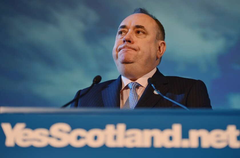 Scottish independence leader Alex Salmond, shown in May 2012, announced his resignation as Scotland's first minister after losing a historic referendum.