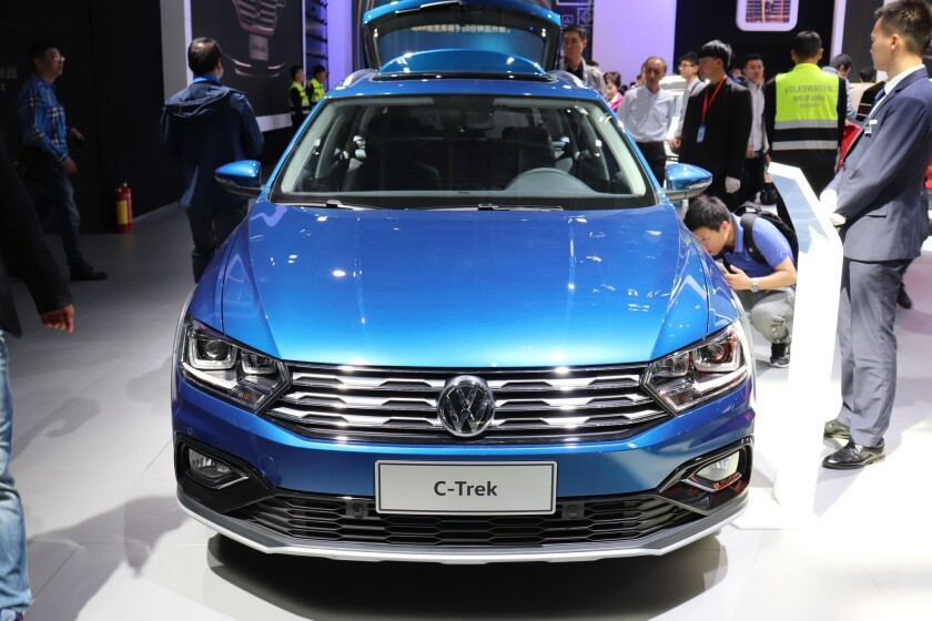 A Volkswagen C-Trek car is displayed during the 15th Beijing International Automotive Exhibition, also known as Auto China 2018, in Beijing on April 27, 2018.